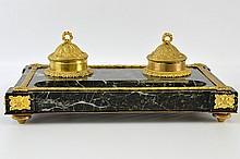 A Napoleon III Marble and Gilt Bronze Ink Well