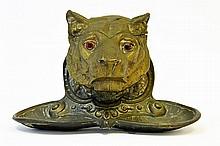 A Continental Bronze Tiger Head Pen Rest
