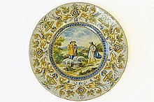 A Large Continental Majolica Charger, circa 1900