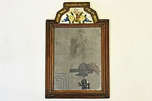 An Antique Glass and Wood Frame Mirror
