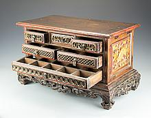 A Wooden Indonesian Jewelry Chest