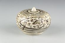 A Thai Circular Stoneware Covered Box