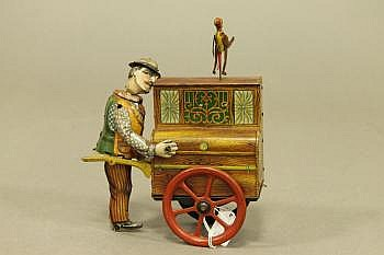 A German Lehmann Tin Plate Organ Grinder clockwork