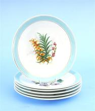 A set of 6 Dessert plates decorated with botanical