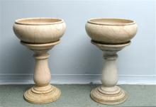 A Pair of 19thC Marble Urns with Balaster Bases an