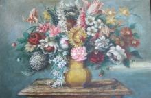 ''Flowers'' Still Life'' - Unsigned 19thC 51cmx76c