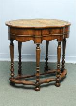 A Walnut Card Table with needlepoint interior in t