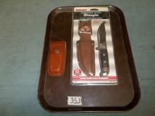 2  Sharp Steel Wrangler Hunting Knife and Pocket Knife w/sheaf