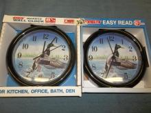 2 Wall Clocks 2 Ducks