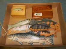 Fish Decoys and 2 small wooden boxes