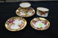 5pc Golden Rose Royal Chelsea Bone China  England