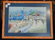 Sigined Boat Painting Jean Mckee Williams