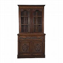 A MAHOGANY BUREAU BOOKCASE, LATE 19TH/EARLY 20TH CENTURY the moulded outswe