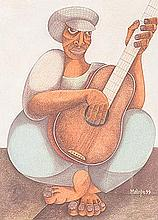 Solly Malope (South African 1953 -) GUITARIST signed and dated 99 pencil an