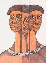 Solly Malope (South African 1953 -) THREE FACES signed and dated 98 pencil