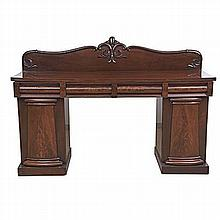 A VICTORIAN MAHOGANY PEDESTAL SIDEBOARD the rectangular top surmounted by a