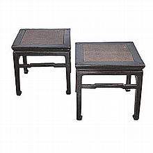 A PAIR OF CHINESE BLACK LACQUERED SIDE TABLES, 20TH CENTURY each square rat