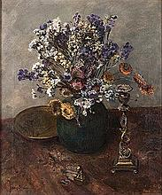 Frans David Oerder (South African 1867-1944) FLOWER STUDY WITH BRASS ORNAME