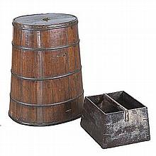 A CHINESE WOOD AND IRON STAVED GRAIN MEASURE BARREL, 20TH CENTURY the loose