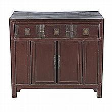 A CHINESE LACQUERED CABINET, 20TH CENTURY the rectangular top above three s
