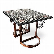 AN ITALIAN MARBLE PIETRA DURA TABLE the rectangular top inlaid with panels