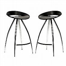 A PAIR OF TECNOTUBI LYRA BAR STOOLS DESIGNED IN 1994 BY DESIGN GROUP ITALIA