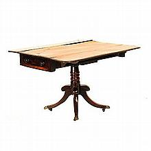 A REGENCY STYLE MAHOGANY PEMBROKE TABLE the rectangular top with hinged dro