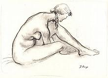 François Krige (South African 1913-1994) NUDE STUDY signed charcoal on pape