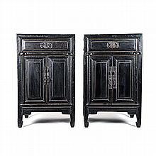 A PAIR OF CHINESE STYLE EBONISED BEDSIDE CABINETS, 20TH CENTURY each square
