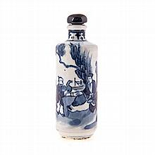 A CHINESE BLUE AND WHITE SNUFF BOTTLE AND STOPPER of cylindrical form, pain