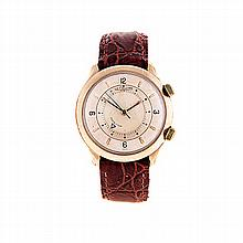 A GENTLEMAN'S 10CT GOLD-PLATED WRISTWATCH, LE COULTRE MEMOVOX the circular