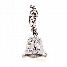 A 19TH CENTURY FRENCH SILVER DINNER BELL the bell with vacant foliate carto