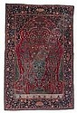 AN ISPAHAN PRAYER RUG, PERSIA CIRCA 1920 197 by 127cm, condition: fair Illustrated