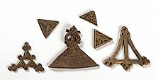 A MISCELLANEOUS COLLECTION OF SIX BRONZE ASHANTI PIECES, GHANA (6)