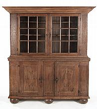 A DUTCH OAK WEDDING DISPLAY CABINET, EARLY 19TH CENTURY the outswept cornic