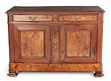 A FRENCH WALNUT LOW CUPBOARD, 19TH CENTURY the moulded rectangular top with