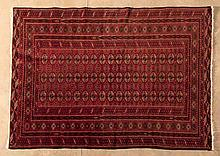 A TURKOMAN RUG, AFGHANISTAN, MODERN the red field with three rows of guls a