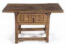 A SPANISH OAK TABLE, 18TH CENTURY the rectangular top above a geometrically