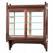 A MAHOGANY HANGING DISPLAY CABINET, EARLY 20TH CENTURY the rectangular top