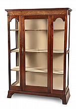A MAHOGANY AND WALNUT DISPLAY CABINET, 19TH CENTURY AND LATER the outswept