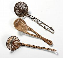 A MISCELLANEOUS COLLECTION OF BEER SKIMMERS comprising: 2 woven grass skimm