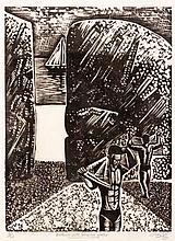 CLARKE, PETER ( -) BATHERS WITH PASSING YACHT linocut, signed, dated 1971,