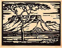 Jacob Hendrik Pierneef (South African 1886-1957) DORINGBOME EN BERGE, S. W.