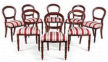 A SET OF EIGHT VICTORIAN BALLOON-BACK CHAIRS MANUFACTURED BY PIERRE CRONJE,