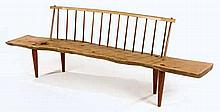 A KIAAT AND YELLOWWOOD SPINDLEBACK BENCH MANUFACTURED BY SEAN BAXTER, 21ST