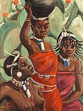 Joyce Ordbrown (South African 1894-1974) THREE FIGURES signed oil on board