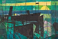 Alfred Frederic Krenz (South African 1899-1980) HARBOUR SCENE signed oil an