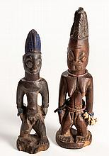 TWO YORUBA IBEJI FIGURES, NIGERIA the taller 28,5cm high (2)