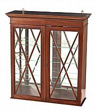 A GEORGE III STYLE HANGING DISPLAY CABINET, EARLY 20TH CENTURY the outswept