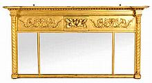 A GEORGE IV GILTWOOD OVERMANTEL MIRROR the three rectangular plates within